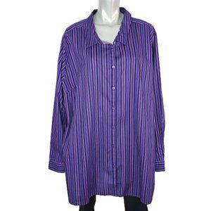 Roamans Purple Striped Top Plus Size 34W